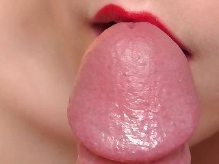 Handjobs Sensual Teasing Close Up Blowjob with Precum and Cumshot