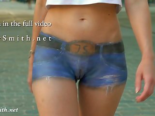 Jeny Smith walks the streets naked with only painted pants Jeny Smith