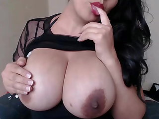 Colombian Beautiful Colombia plays with her Huge Milking tits