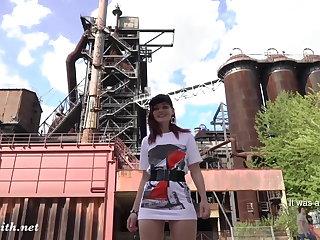 Jeny Smith is walking naked through an abandoned factory Jeny Smith