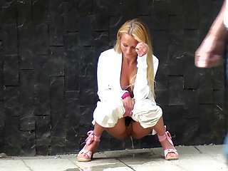 Pissing Pretty Girl Caught While She Pisses Outdoors