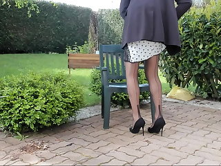 Redheads sexyputa outdoor showing slip and seamed nylons