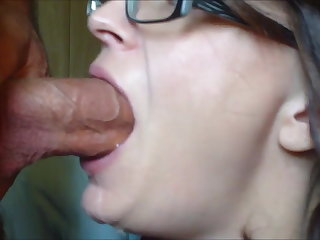 Hardcore Milf with glasses suck dick and get facial