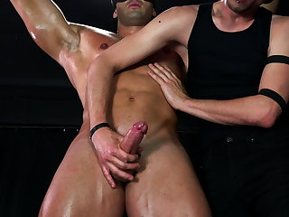 Massage Muscle Stud Dominated by BDSM Bondage Top - Whipping & Cum