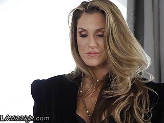 Face Sitting MILF Audits Massage Parlor & Winds Up Fucking 2 Lesbian Babe