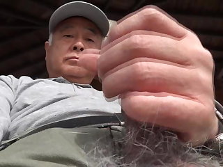 Military Japanese old man erection outdoors