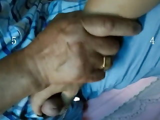 Husband Helps Asian Wife With Grandpa Lover Outdoors