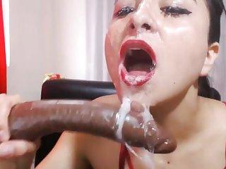 Deep Throats gagging slut with dildo.mp4